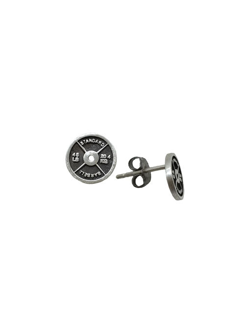 45 Lb Weight Plate Stud Earrings Weightlifting Jewelry Iron Strong Jewelry