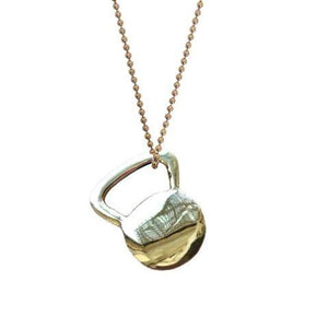 Flat Brass Kettlebell Tag Necklace