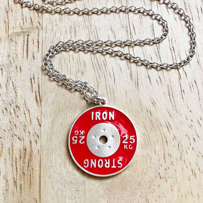 25KG Red Bumper Weight Plate Necklace