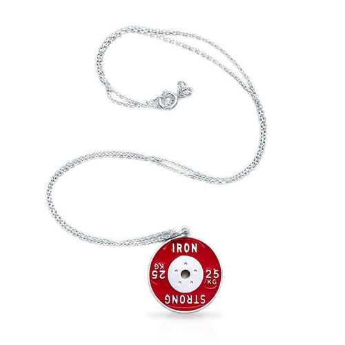 25kg Weight Plate Sterling Silver Necklace