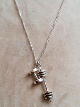 Fitness Jewelry - Sterling Silver Barbell Dumbbell necklace
