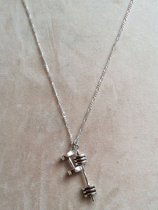 Sterling Silver Barbell Dumbbell Necklace