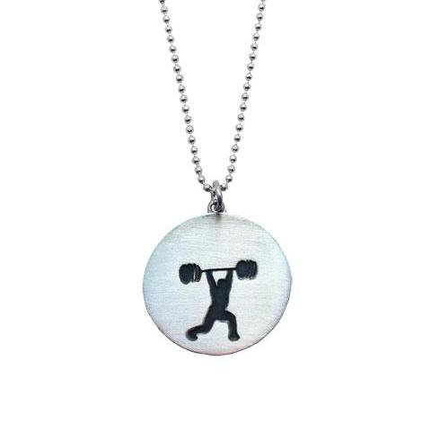 Sterling Silver Barbell Jerk Necklace