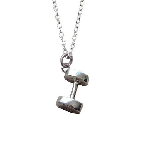 SIlver Dumbbell Necklace