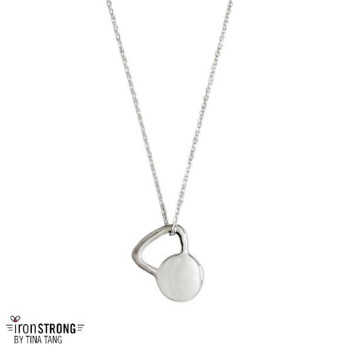 Engraveable Flat Kettlebell Necklace (Sterling Silver)