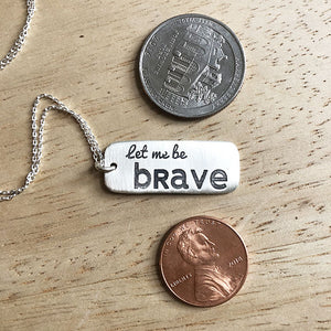 Size comparison for Special Olympics Let Me Win Let Me Be Brave Charity Necklace
