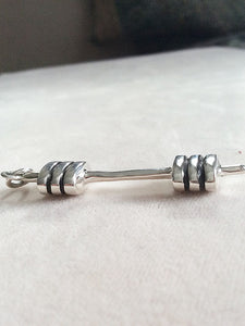 Sterling Silver Barbell Charm Sideview