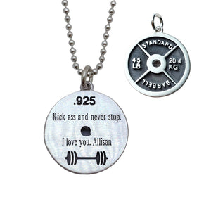 WeightPlate Necklace Engraved