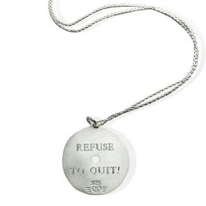 Large Sterling Silver Weight Plate Necklace engraved example