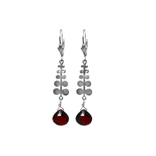 Sterling Silver Petals and Garnet Earrings