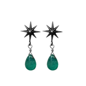 Sterling Silver Starburst Green Agate Earrings