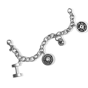 Sterling Silver Weightlifting Charm Bracelet