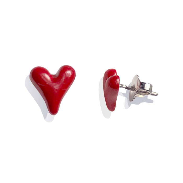 Red Enamel Sterling Silver Heart Stud Earrings