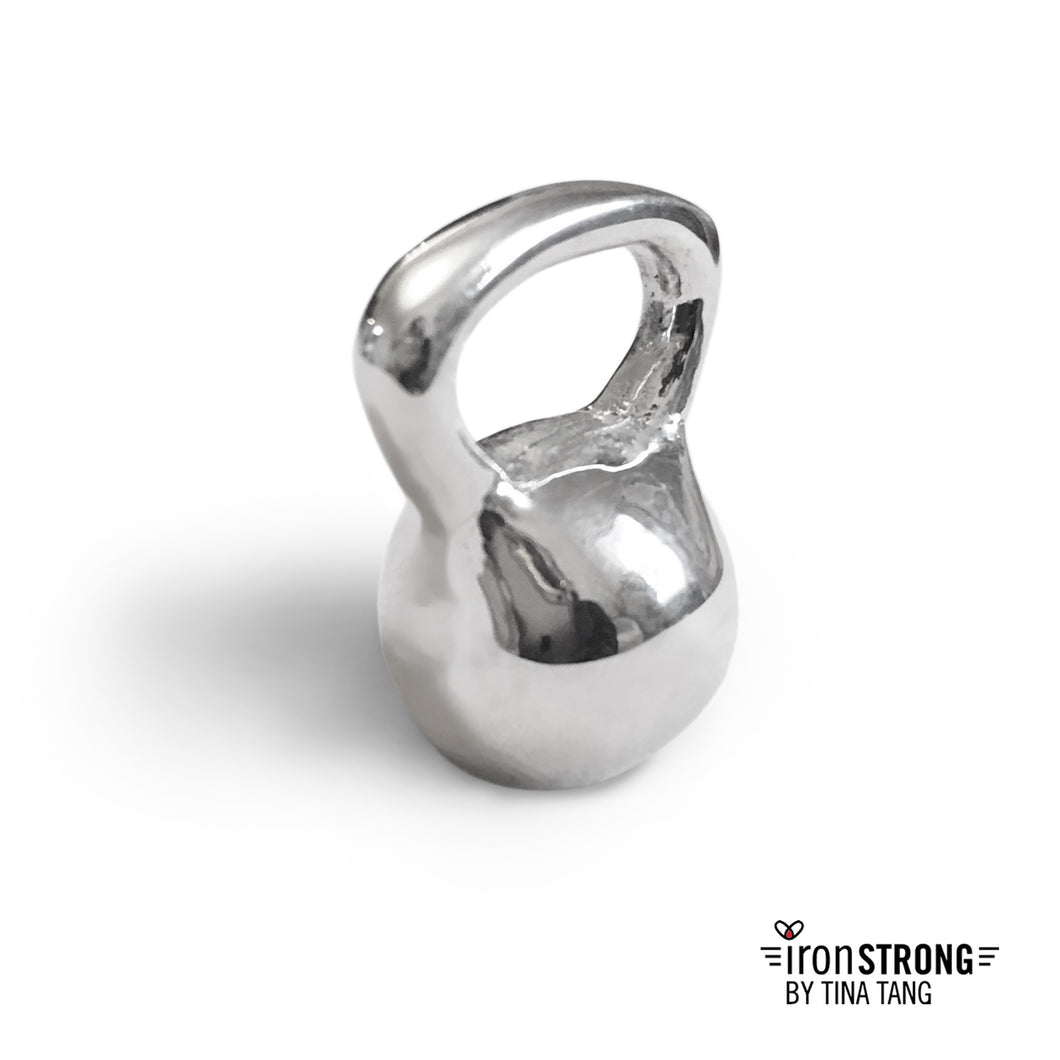 Iron Strong Sterling Silver Kettlebell Charm