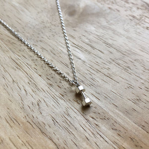Small Sterling Silver Dumbbell Weight lifting Necklace