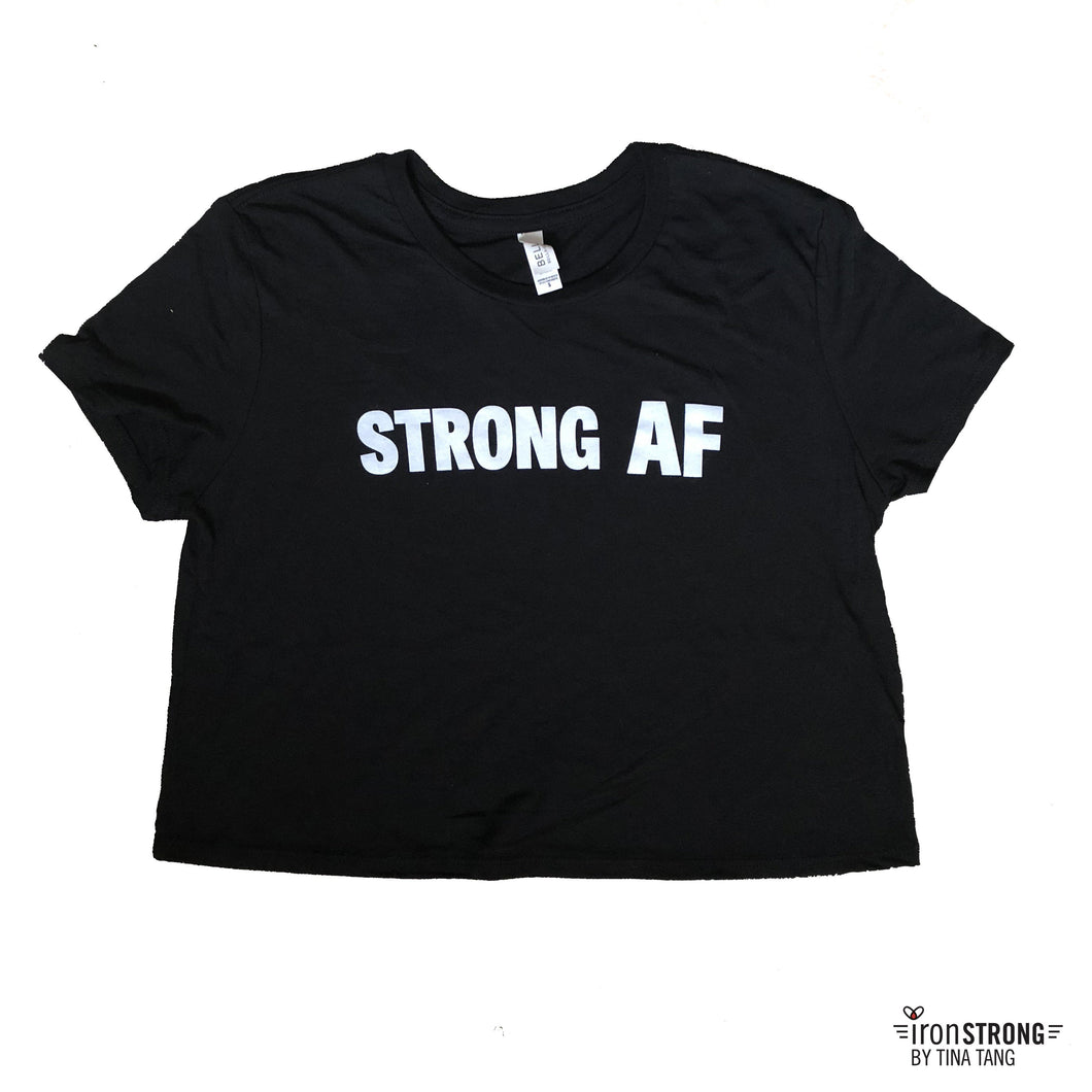 Strong AF Black Cropped Tee Shirt