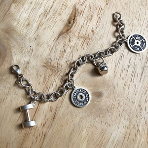 Weightlifting Sterling Silver Charm Bracelet