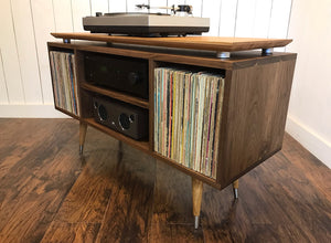 Solid walnut turntable and stereo console, mid century modern