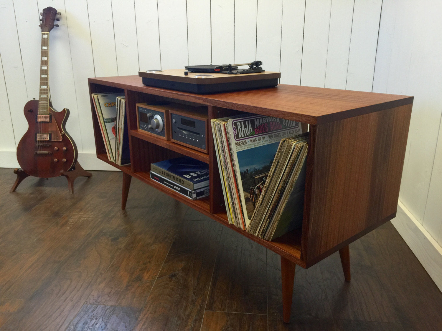 turntable furniture. Large Stereo, Turntable And Album Storage Console, Shown In Sapele Mahogany. Furniture F