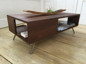 Fat Boy contemporary coffee table in solid walnut with steel hairpin legs.