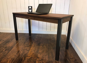 Neo industrial Parsons desk, solid walnut with steel legs.