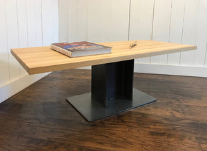Industrial coffee table, edge-grain white oak with steel I-beam base.