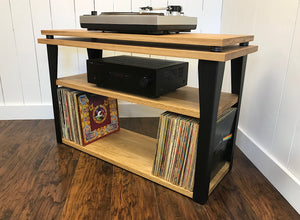 White oak stereo and turntable console with optional album storage.