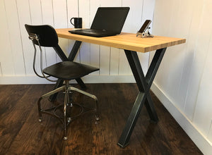 Modern industrial desk, solid white oak top with steel legs.