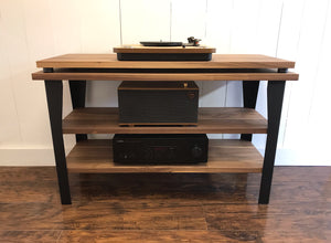 Walnut stereo and turntable console with optional album storage.