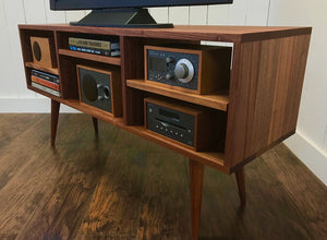 Solid mahogany expanded TV, audio and video console, mid century minimalist.