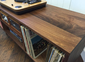 Solid walnut audio cabinet.