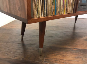 Stereo cabinet, solid mahogany with album storage and turntable isolation platform.
