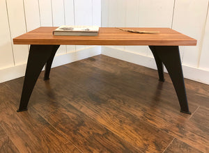 Contemporary coffee table, solid mahogany with steel legs.