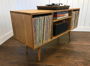 Quartersawn white oak record player console.