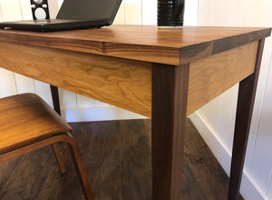 Shaker writing desk, solid walnut and white oak
