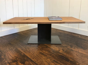 Industrial coffee table, edge-grain walnut with steel I-beam base.