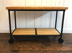 Industrial kitchen island cart with butcher block top