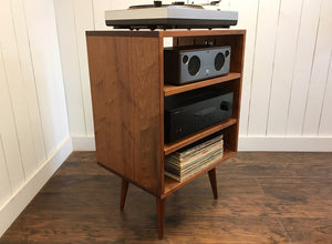 Vertical stereo and turntable cabinet with album storage, solid mahogany.