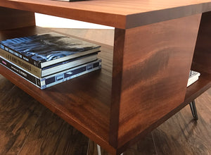 Solid mahogany coffee table with storage, mid century modern