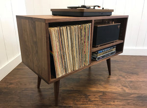 Solid walnut stereo and turntable cabinet with album storage, mid century modern.