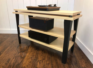 Maple stereo and turntable console with optional album storage.