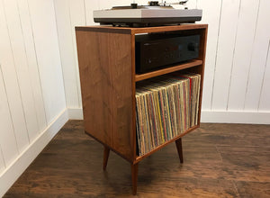 Mid century modern record player cabinet with vinyl storage, solid mahogany.