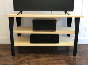 Maple TV and media console with optional album storage.