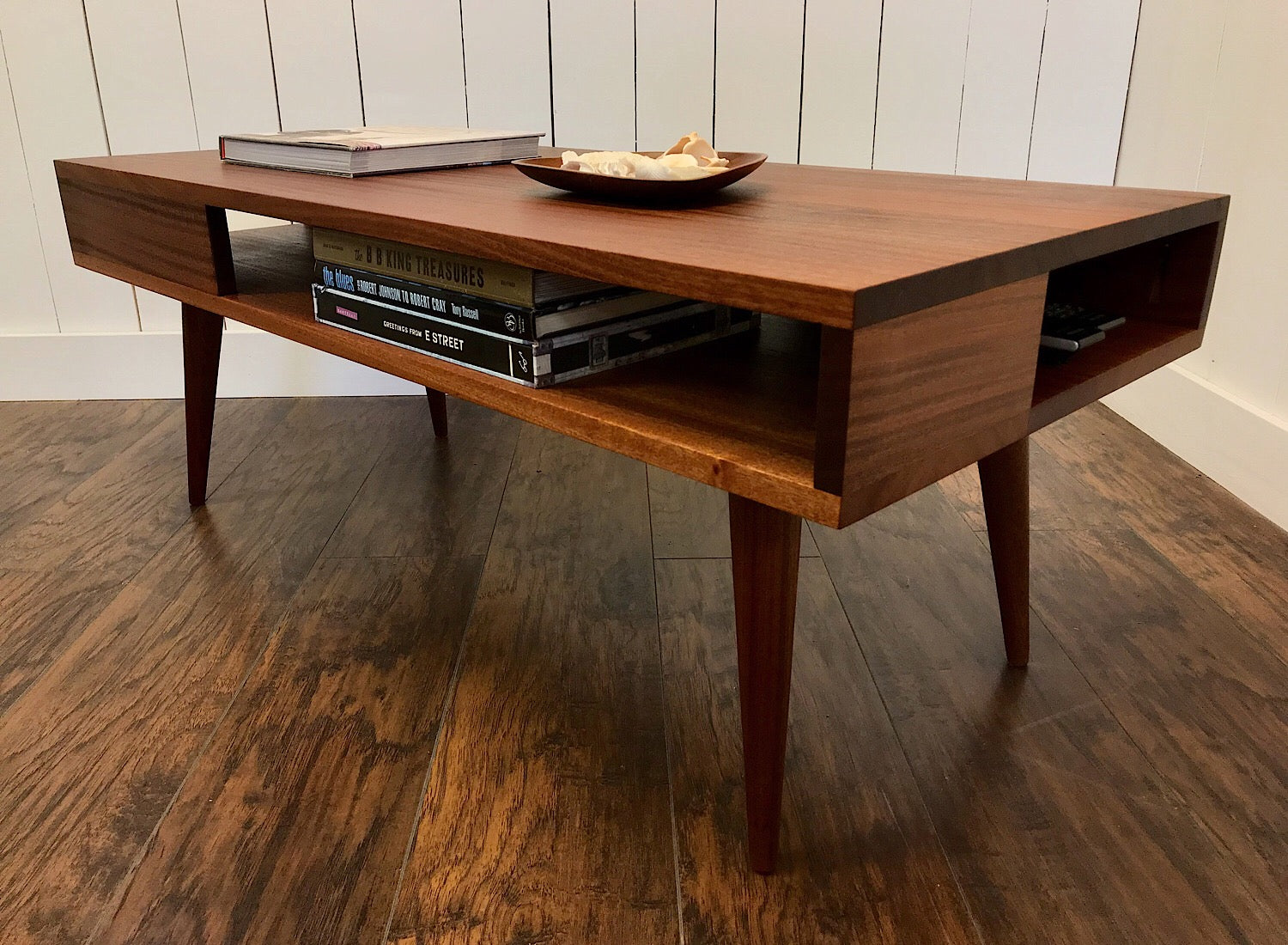 Thin Man Solid Mahogany Coffee Table With Storage Scott Cassin