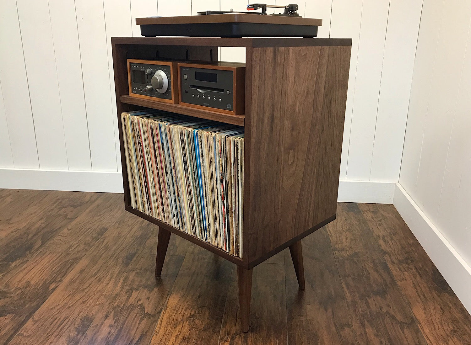 Solid walnut stereo and turntable console with album ...