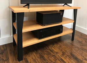 Cherry TV and media console with optional album storage.