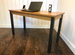 Neo industrial Parsons desk, solid white oak with steel legs.