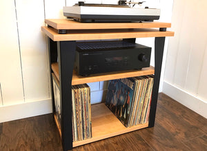 Cherry stereo and turntable console with album storage.