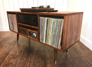Solid mahogany stereo and turntable cabinet with album storage, mid century modern.