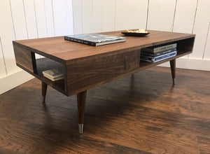 Solid walnut coffee table with storage, mid century modern.